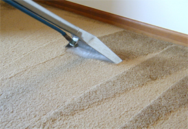 Cleaning a dirty carpet right up to the skirting board